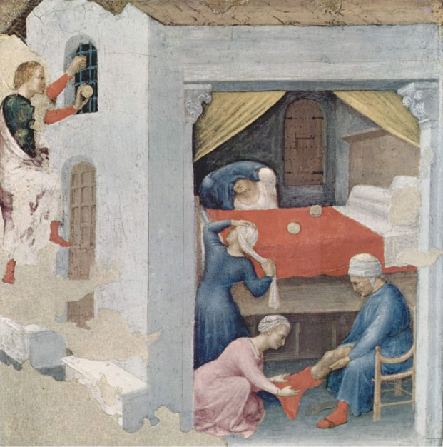 The dowry for the three virgins (Gentile da Fabriano, c. 1425, Pinacoteca Vaticana, Rome)