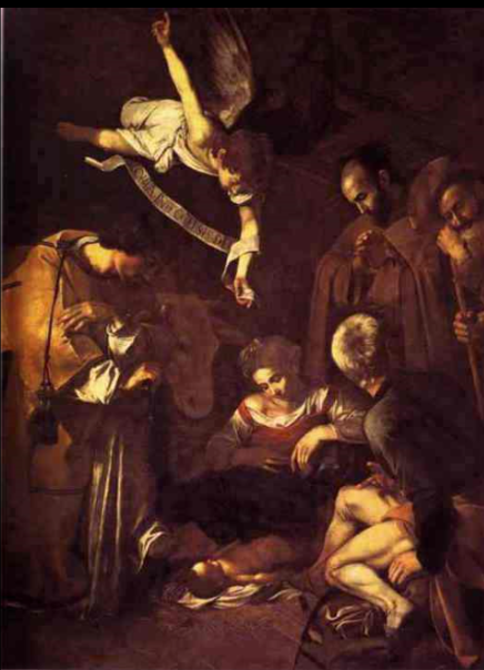 Happy Birthday!  The Nativity with St. Francis and St. Lawrence (also known as The Adoration) is a painting traditionally believed to have been created in 1609 by the Italian Baroque master Caravaggio.   Recent discoveries link the painting to that commissioned by Fabio Nuti in April 1600, and thus sent from Rome to Palermo.  268 cm × 197 cm (106 in × 78 in)  It was stolen on October 18, 1969 from the Oratorio di San Lorenzo in Palermo, Sicily