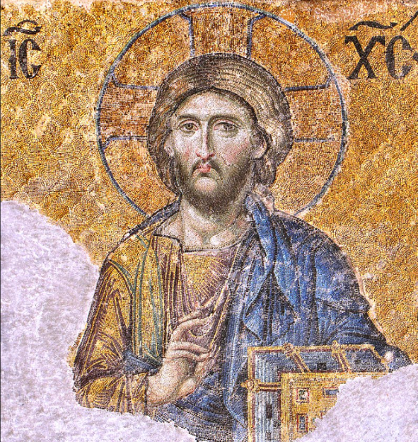 Jesus Christ Pantocrator  (Detail from the deesis mosaic in Hagia Sophia, Istanbul)  In Christian iconography, Christ Pantocrator is a specific depiction of Christ.  Pantocrator or Pantokrator is, used in this context, derived from of one of many names of God in Judaism.