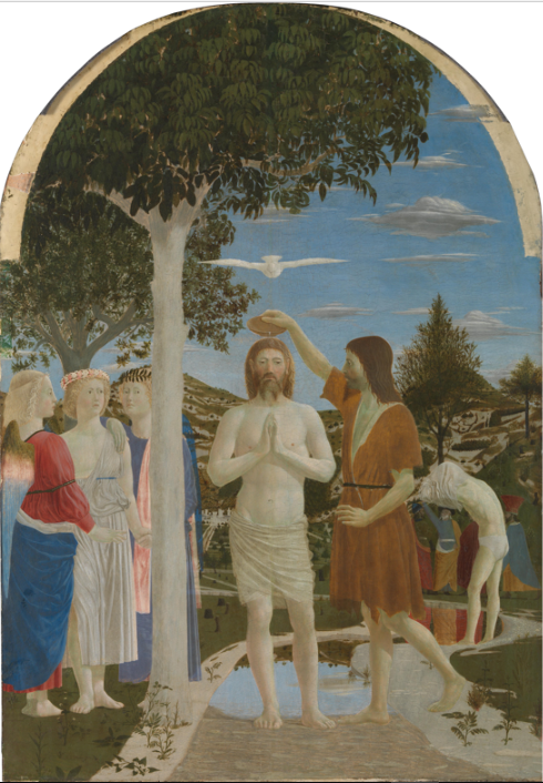 """The Baptism of Christ is a painting by the Italian Renaissance master Piero della Francesca, finished around 1448–50. It is housed in the National Gallery, London.  The panel was commissioned presumably some time about 1440 by the Camaldolese Monastery of Sansepolcro in Tuscany, originally part of a triptych.  Its dating to Piero della Francesca's early career is evidenced by the strong relationship with the """"light painting"""" of his master, Domenico Veneziano.  It portrays Christ being baptised by John, his head surmounted by a dove representing the Holy Spirit.   Christ, John's hand, the bird and the bowl form an axis which divides the painting in two symmetrical parts.  A second division is created by the tree on the left, which instead divides it according to the golden ratio.  Behind John, a man in white briefs, his feet already in the water, is struggling to get out of his undershirt.  The three angels on the left wear different clothes and, in a break from traditional iconography, are not supporting Christ's garments, but are holding each other's hands, in a sort of way.  This could be an allusion to the contemporary Council of Florence (1431–45), whose goal was the unification of the Western and Eastern Churches.   The Camaldolese monk and theologian, Saint Ambrose Traversari (+1439), who had been Prior General of the Camaladolese congregation, had been a strong supporter of the union.  Such symbolism is also suggested by the presence, behind the neophyte on the right, of figures dressed in an oriental fashion.  Piero della Francesca was renowned in his times as an authority on perspective and geometry: his attention to the theme is shown by John's arm and leg, which form two angles of the same size."""