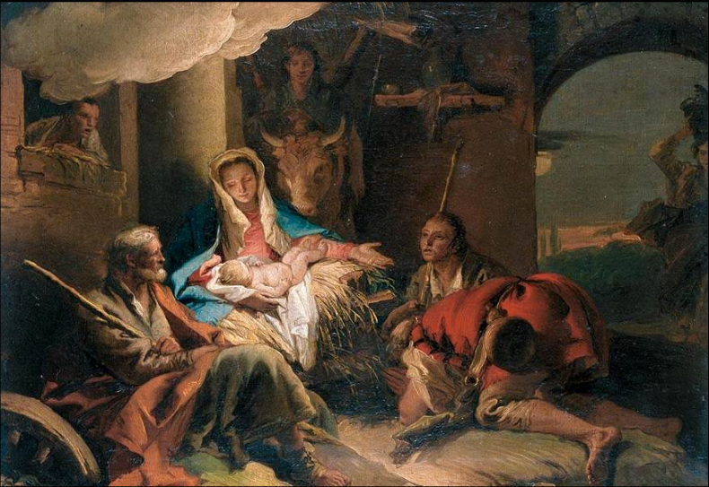 The Adoration of the Shepherds 1751-53 Oil on canvas, 43 x 58 cm Giovanni Domenico Tiepolo c. 1751-1753   The painting, the design of which is borrowed from the artist's father, Giambattista Tiepolo, has a pendant, The Adoration of the Magi, now in the Wallraf-Richartz-Museum, Cologne.
