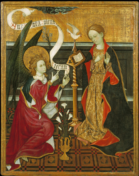 Annunciation, work by unknown artist, c. 1420,  Museu Nacional d'Art de Catalunya, Barcelona  Mary is honored. Accepting.