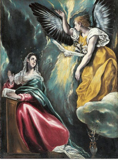 "The Annunciation by El Greco, c. 1590–1603,  Ohara Museum of Art, Kurashiki, Japan  ""Wait a moment. Let me get a bookmark here. Wait a moment.  ""You said I'm going to have a baby? That's going to be scourged and crucified in front of me?"""