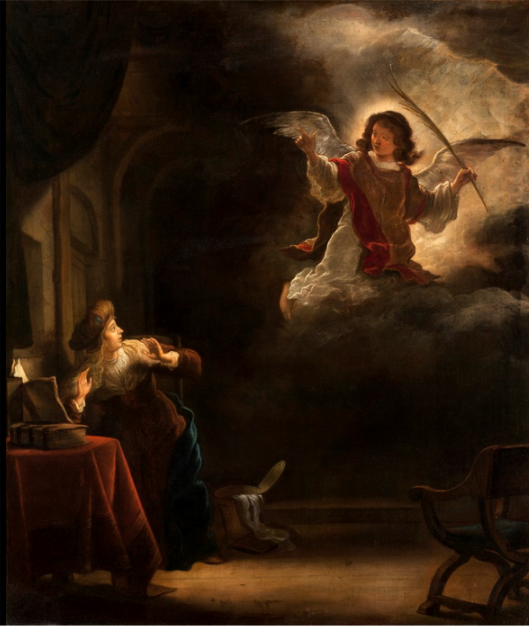 "The Annunciation by Salomon Koninck, 1655,  Hallwyl Museum, Stockholm  ""Wait. I need a moment to decide. I want to talk with my BFF."""