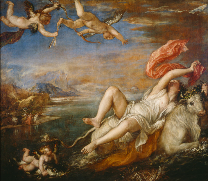 The Rape of Europa     by    Titian    (1562)   Cop and paste Marc's link to see the painting before and after the cleaning.