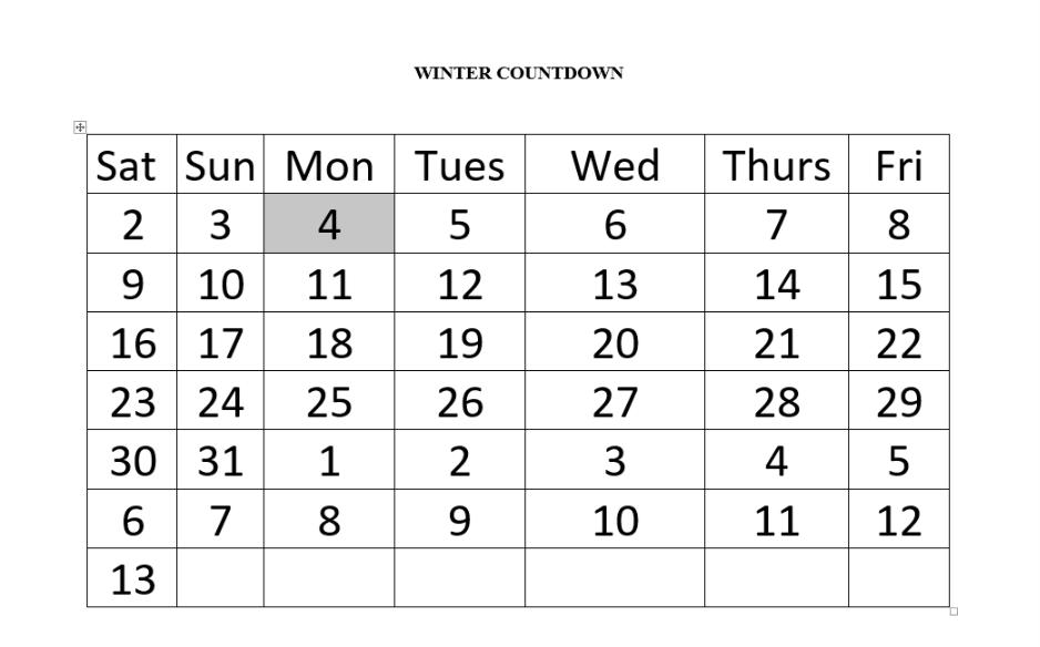 My winter countdown.