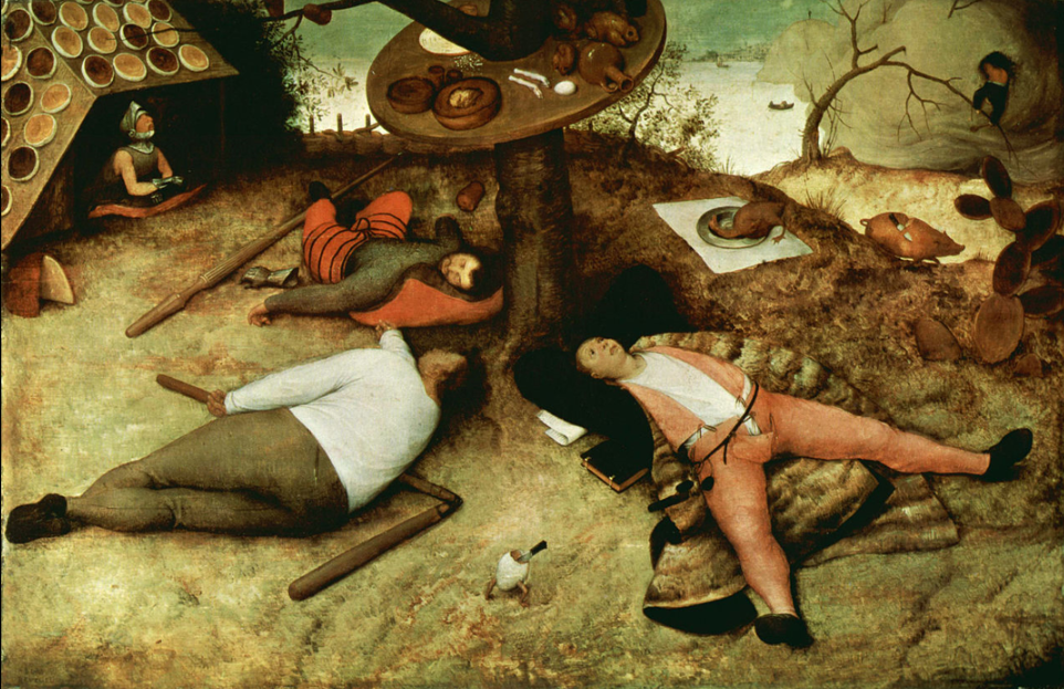 In the painting, a clerk, a peasant, and a soldier lie dozing on the ground underneath a table bound to a tree.  The clerk's book, papers, ink and pen lie idle, as do the peasant's flail and the soldier's lance and gauntlet.  A half-eaten egg in its shell runs between the peasant and the clerk.  The table attached to the tree is laden with partly consumed food and drink.  Behind the tree, a roasted fowl lays itself upon a silver platter, implying that it is ready to be eaten, and a roasted pig runs about with a carving knife already slipped under its skin.  On the left, a knight emerges from a lean-to whose roof is covered in dishes of pie and pastry, with an open mouth, waiting for a roasted pigeon to fly in (the pigeon was accidentally removed during restoration work).  On the right and behind the main action, a man clutching a spoon forces his way out of a large cloud of pudding, having eaten his way through it; he reaches for the bent branch of a tree in order to lower himself into Cockaigne.  The fence enclosing the main scene behind the dozing trio is made of interwoven sausages.  A partly eaten wheel of cheese and a bush (or tower) of loaves of bread are on the left and right of the scene, respectively.
