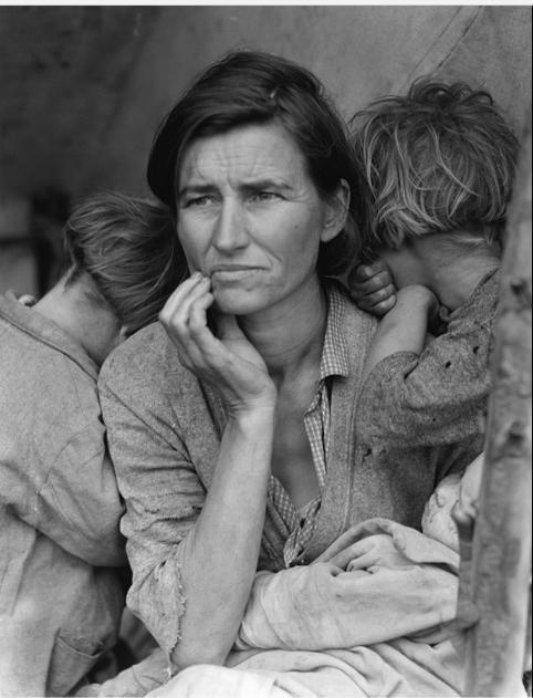 Dorothea Lange's Migrant Mother depicts destitute pea pickers in California, centering on Florence Owens Thompson, age 32, a mother of seven children, in Nipomo, California, March 1936.  At the end of the Great Depression, about a quarter of American adults formed New Year's resolutions. At the start of the 21st century, about 40% did.