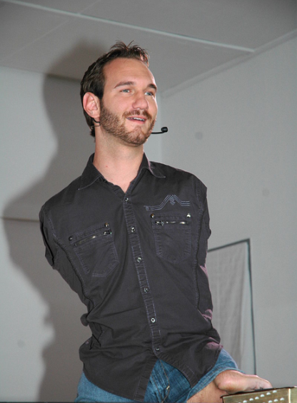 Nicholas James Vujicic born 4 December 1982) is an Australian Christian evangelist and motivational speaker born with tetra-amelia syndrome, a rare disorder (called phocomelia) characterized by the absence of arms and legs.  He is one of seven known individuals who are diagnosed with the syndrome.