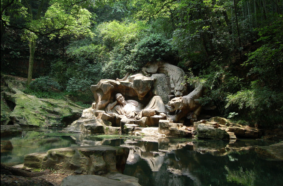 Dreaming of the Tiger Spring (虎跑夢泉) In Chinese history, people wrote of two vital aspects of the soul of which one is freed from the body during slumber to journey in a dream realm, while the other remained in the body, although this belief and dream interpretation had been questioned since early times, such as by the philosopher Wang Chong (27–97 AD). The Indian text Upanishads, written between 900 and 500 BC, emphasize two meanings of dreams.  The first says that dreams are merely expressions of inner desires.  The second is the belief of the soul leaving the body and being guided until awakened.