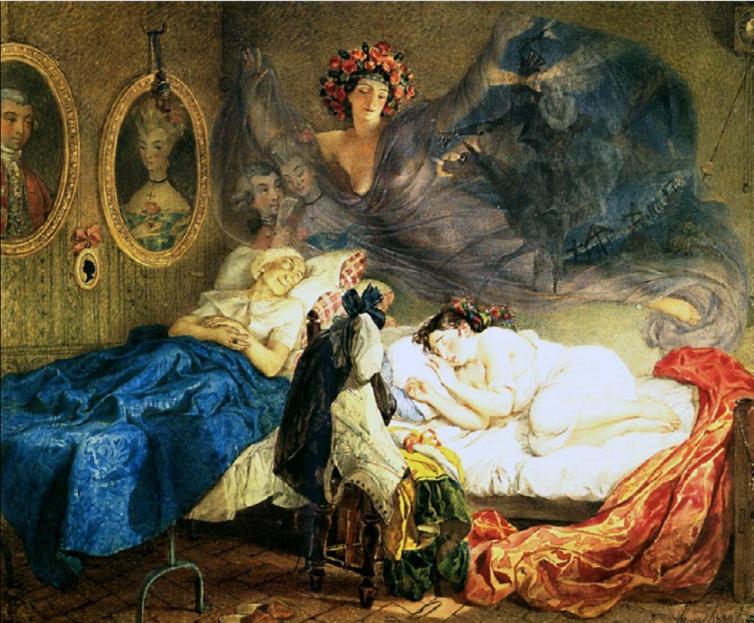 An artist's painting of a dream. Karl Bryullov - http://www.plankapola.ru/userfiles/images/SON%20BABUSHKI%20I%20VNUCHKI.jpg