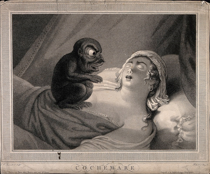 An artist's depiction of a woman having a nightmare.  A night terror, also known as a sleep terror or pavor nocturnus, is a parasomnia disorder that predominantly affects children, causing feelings of terror or dread.  Night terrors should not be confused with nightmares, which are bad dreams that cause the feeling of horror or fear.  A nightmare is an unpleasant dream that can cause a strong negative emotional response from the mind, typically fear or horror, but also despair, anxiety and great sadness.  The dream may contain situations of danger, discomfort, psychological or physical terror.  Sufferers usually awaken in a state of distress and may be unable to return to sleep for a prolonged period of time.