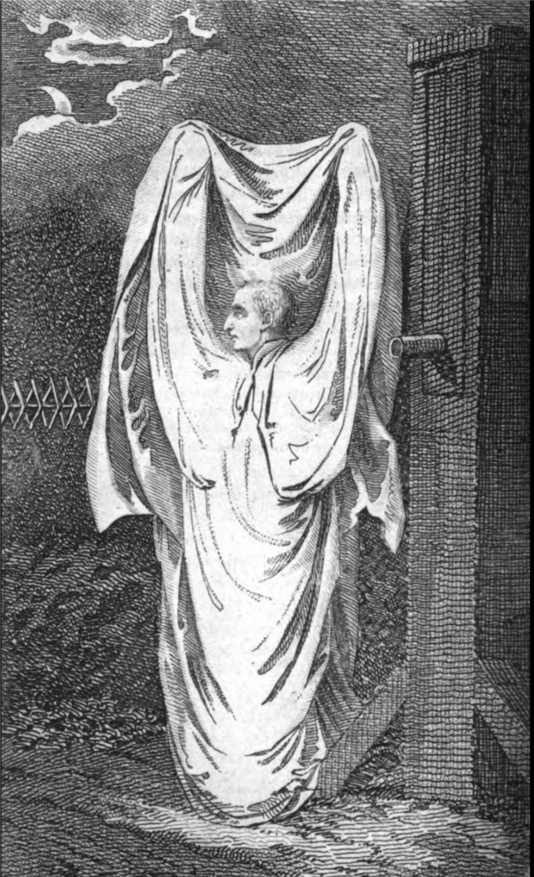 Engraving of the  Hammersmith Ghost  in  Kirby's Wonderful and Scientific Museum , a magazine published in 1804.