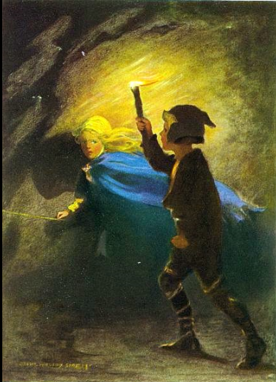 Illustration from 1920 edition of George MacDonald's novel The Princess and the Goblin, which is widely considered to be one of the first fantasy novels ever written for adults.  Jessie Willcox Smith, illustrator - http://www.gutenberg.org/ebooks/34339