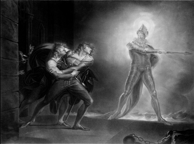 """Hamlet and his father's ghost"" by Henry Fuseli (1796 drawing).  The ghost is wearing stylized plate armor in 17th-century style, including a morion type helmet and tassets.  Depicting ghosts as wearing armor, to suggest a sense of antiquity, was common in Elizabethan theater."