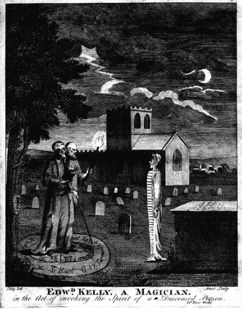 """Edward Kelly, a Magician. in the Act of invoking the Spirit of a Deceased Person.""  Engraving of occultists John Dee and Edward Kelley ""in the act of invoking the spirit of a deceased person""; from Astrology (1806) by Ebenezer Sibly.  engraved by Ames of Bristol (according to Fincham, Artists and engravers of British and American book plates, 1897), original drawing by Sibly - Astrology, A New and Complete Illustration of the Occult Sciences by Ebenezer Sibly, M.D. F.R.H.S., Embellished with Curious Copper-Plates, London, 1806. Immediate source: fromoldbooks.org"