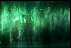 The Army of the Dead in Peter Jackson's The Lord of the Rings: The Return of the King.  The Dead Men of Dunharrow (also referred as the Shadow Host, the Grey Host, the oathbreakers, or simply the Dead) are fictional characters in J. R. R. Tolkien's Middle-earth legendarium.  They appear in The Lord of the Rings as Men of the White Mountains (Ered Nimrais), who were cursed to remain in Middle-earth by Isildur after they abandoned their oath to aid him in the War of the Last Alliance.  They were formerly known as the Men of the Mountains, and they were related to the Dunlendings.