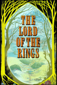 The cover of the first single volume edition of The Lord of the Rings.   First published in 1968 by George Allen and Unwin, London, for worldwide sale, excepting the United States.  The copyright is believed to be owned by current publisher, HarperCollins.