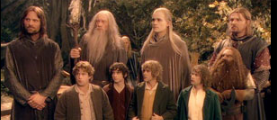 The Fellowship. The hobbits are in the front row. Left to right, Sam, Frodo, Merry, and Pippin. Also not shown elsewhere is Gandalf, the one who looks like and is, indeed, a wizard.