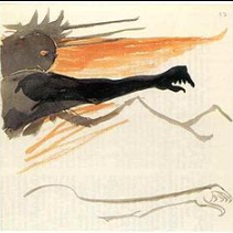 J. R. R. Tolkien's watercolor illustration of the literary character Sauron, the Dark Lord.