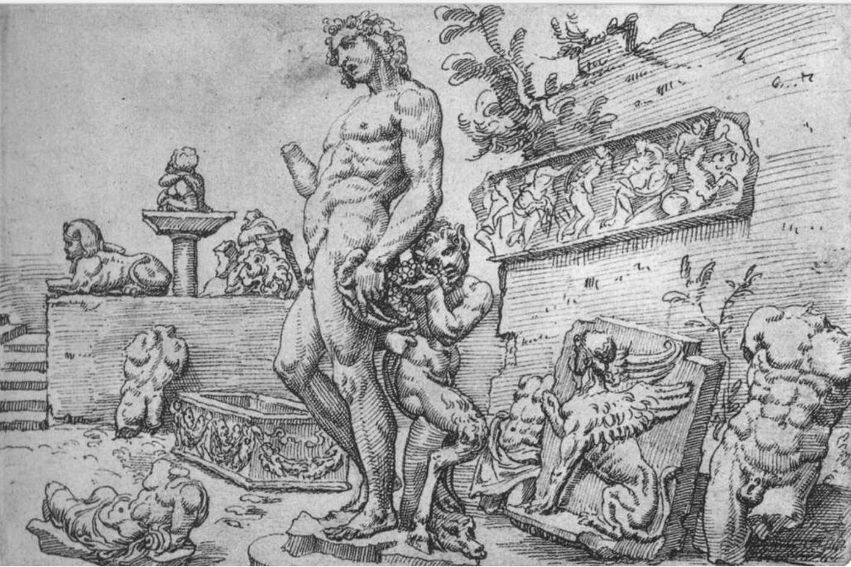 The Bacchus placement in Galli's garden first appeared in a drawing by Maarten van Heemskerck, c. 1533-36.