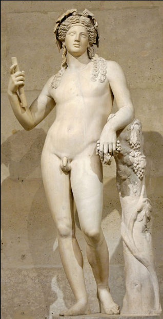 """2nd-century Roman statue of Dionysus, after a Hellenistic model  Marie-Lan Nguyen and one more author - Own work    Dionysus is the god of the grape-harvest, winemaking and wine, of fertility, ritual madness, religious ecstasy, and theatre in ancient Greek religion and myth. His worship became firmly established in the seventh century BC. He may have been worshipped as early as c. 1500–1100 BC by Mycenaean Greeks;  Traces of Dionysian-type cult have also been found in ancient Minoan Crete.   He is a major, popular figure of Greek mythology and religion, becoming increasingly important over time, and included in some lists of the twelve Olympians, as the last of their number, and the only god born from a mortal mother. His festivals were the driving force behind the development of Greek theatre.   Wine played an important role in Greek culture, and the cult of Dionysus was the main religious focus for its unrestrained consumption.    The earliest cult images of Dionysus show a mature male, bearded and robed.  He holds a fennel staff, tipped with a pine-cone and known as a thyrsus.  Later images show him as a beardless, sensuous, naked or half-naked androgynous youth: the literature describes him as womanly or """"man-womanish"""".  In its fully developed form, his central cult imagery shows his triumphant, disorderly arrival or return, as if from some place beyond the borders of the known and civilized.  His procession (thiasus) is made up of wild female followers (maenads) and bearded satyrs with erect penises; some are armed with the thyrsus, some dance or play music.  The god himself is drawn in a chariot, usually by exotic beasts such as lions or tigers, and is sometimes attended by a bearded, drunken Silenus.  This procession is presumed to be the cult model for the followers of his Dionysian Mysteries.  Dionysus is represented by city religions as the protector of those who do not belong to conventional society and he thus symbolizes the chaotic, dangerous and unexpe"""