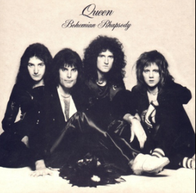 """The four members of the band sit together in front of a sandy-coloured background wearing predominantly black clothing.  Mercury appears to be the dominant figure, sat in front of the other three members.  From left to right, John Deacon, Mercury, Brian May, Roger Taylor.  All four individuals are looking directly at the camera with a neutral expression on their face.  Above the band is some black text, printed in an elegant, italic font face.  The word """"Queen"""" followed by """"Bohemian Rhapsody"""", the latter of which is positioned under the band name in the same format yet smaller font."""