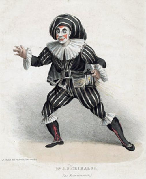 J. S. Grimaldi as Scaramouche, c. 1815  Charles Chabot (1790-1866) - https://collections.vam.ac.uk/item/O184965/h-beard-print-collection-print-chabot-c/