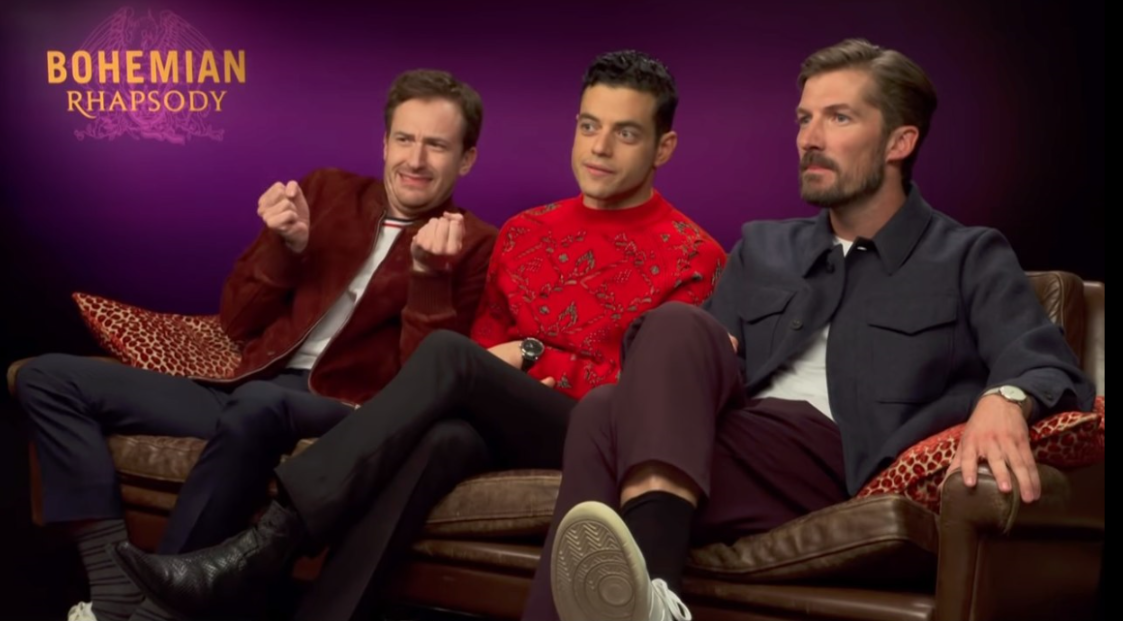 Left to right) Joe Mazzello, Rami Malek, and Gwilym Lee promoting the film in 2018.