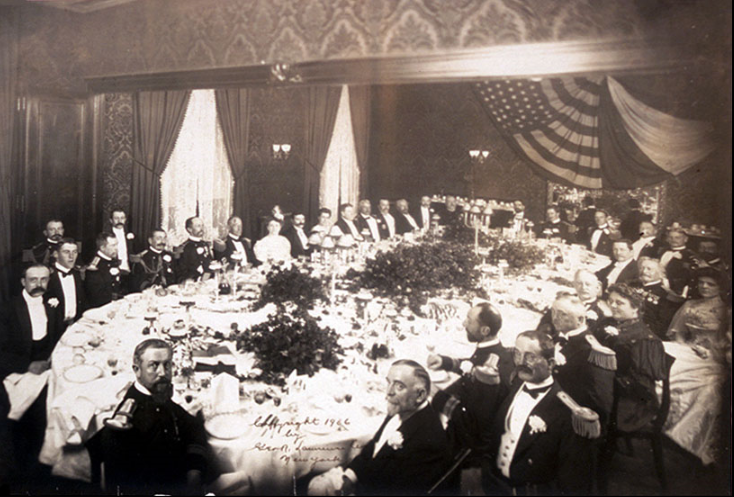 Dinner in honor of Admiral Campion at Delmonico's in 1906
