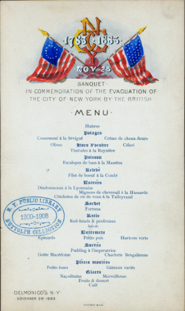 Banquet menu in French from the Fifth Avenue and 26th St. location for the 1883 Centennial Commemoration of  Evacuation Day.