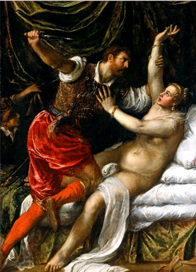 Tarquin and Lucretia by Titian.  According to tradition, the rape of Lucretia and her subsequent suicide indirectly caused the Roman Kingdom's overthrow and the Roman Republic's establishment.  The story inspired many artists and writers, including Shakespeare, Botticelli, Rembrandt, Dürer, Artemisia Gentileschi, Geoffrey Chaucer, and Thomas Heywood.