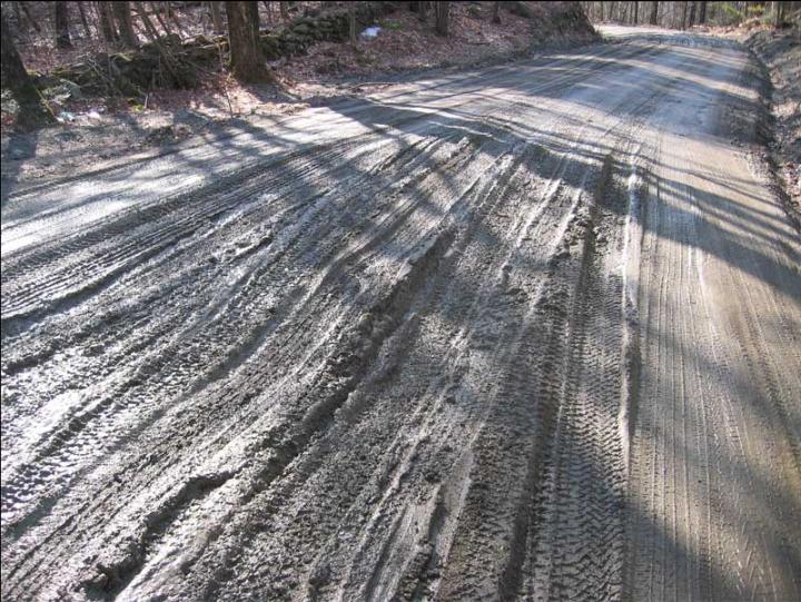 Muddy dirt road during Mud Season