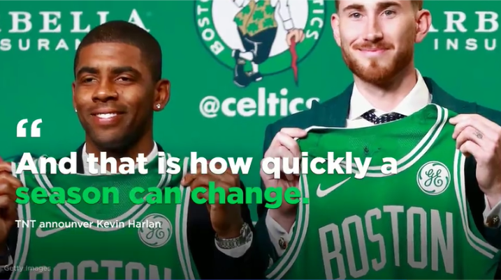 Hayward and Kyrie introduced to Celtics fans. A pairing that guaranteed fans a championship.