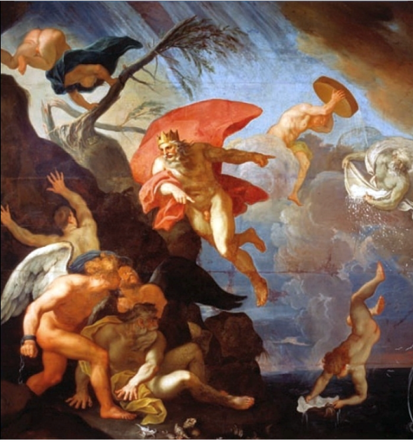 Allegory of Winter by Jerzy Siemiginowski-Eleuter with Aeolus' Kingdom of the Winds, 1683, Wilanów Palace. Siemiginowski-Eleuter was the main artist who was responsible for decorating and painting of the interior of Wilanów Palace in Warsaw.  His painting was heavily influenced by French artists of the Baroque.  Similarities with plafonds by Charles Le Brun in his works (especially ceiling painting in Pavillon de l'Aurore in suburban Paris residence of Jean-Baptiste Colbert at Sceaux, 1671 or 1672) making his visit in Paris more probable.  Influences of Carlo Maratta and Nicolas Poussin are also visible in his works (especially in his plafond Allegory of Spring in the Queen's Bedroom inspired by Maratta's Flora and Changes in the Kingdom of Flora by Poussin).  He painted antiquitised portraits of the members of the royal family and made engravings in participation of Charles de La Haye. Siemiginowski painted many frescoes, notable for their many colors.  His subject matter varied between dramatic scenes to peaceful landscapes.  Among the most notable of his works are four plafonds of the four seasons in the Wilanów Palace. Siemiginowski established his own school of painting in Wilanów and was a renowned architect (participated in designing of the Town Hall in Zhovkva).
