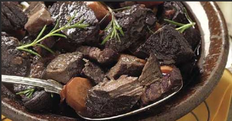Daube De Boeuf   The stew of beef is a traditional dish of Provence which, like some other stews, must marinate in red wine until impregnated.  Huh?