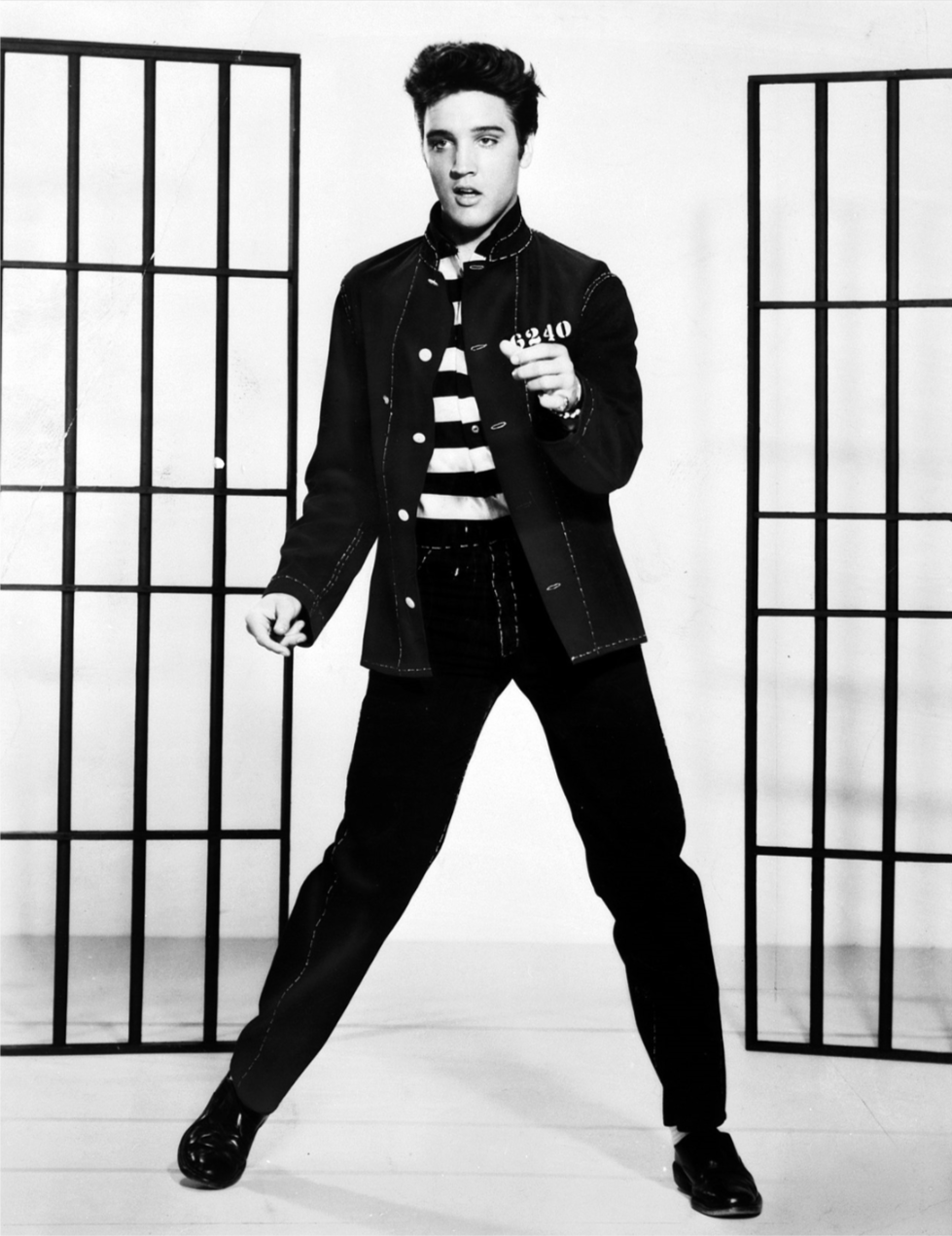 Presley in a publicity photograph for the 1957 film   Jailhouse Rock     No Forrest Gump was he.