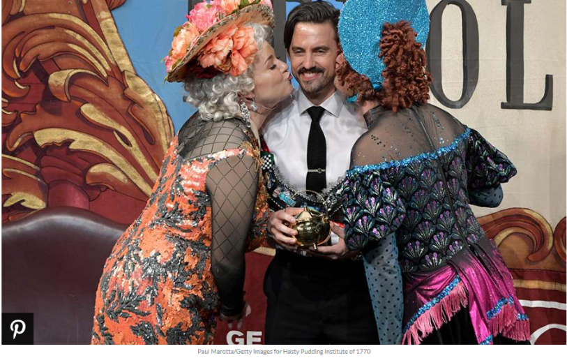At the roast ceremony on the Cambridge, Massachusetts campus, he wore a decorated bra of honor and received a golden Hasty Pudding Pot and kisses from male performers dressed in drag, as per tradition.