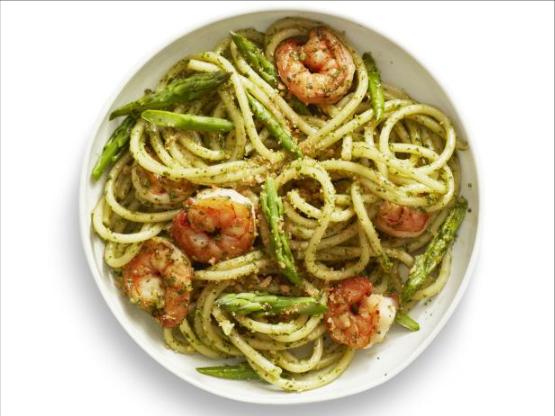 Shrimp with Pesto Sauce tossed with spaghetti.