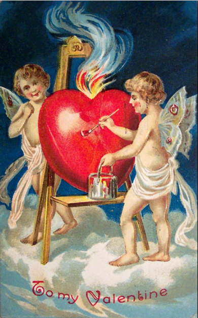 Scan of a Valentine greeting card dated 1909.  Chordboard - Self, from material in my possession.