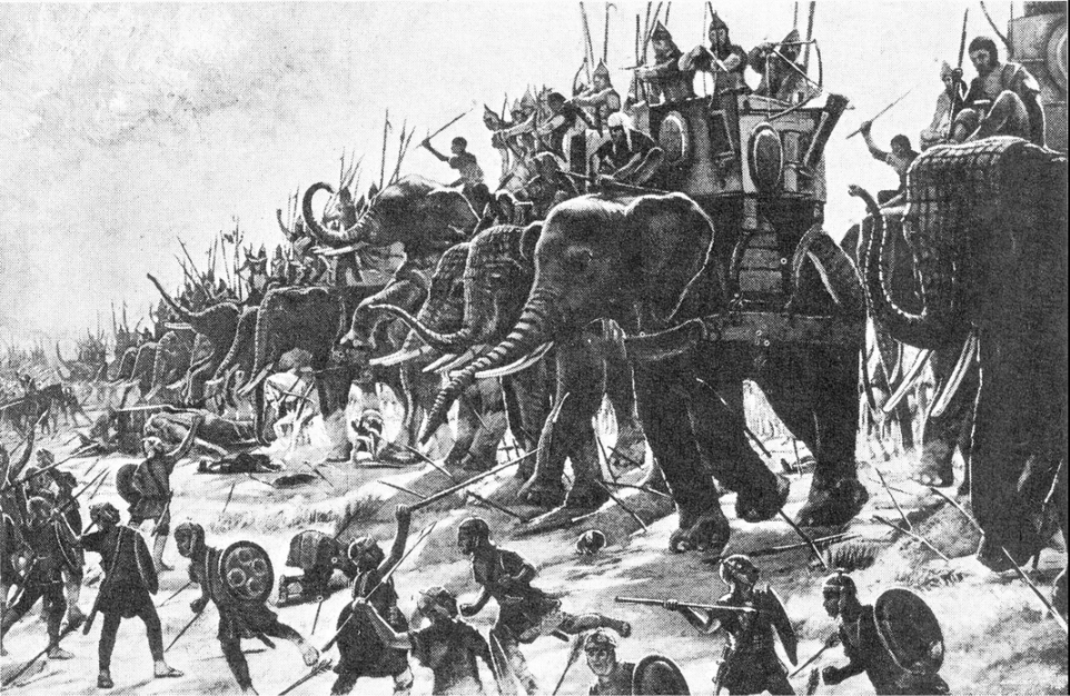 How do you stop an elephant from charging? Take away his credit card.  Battle of Zama by Henri-Paul Motte, 1890 Henri-Paul Motte - Das Wissen des 20.Jahrhunderts, Bildungslexikon, Rheda 1931
