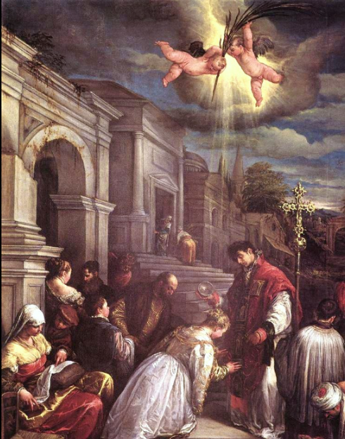 St Valentine baptizing St Lucilla, Jacopo Bassano.  Jacopo Bassano (Jacopo da Ponte) - http://www.1st-art-gallery.com/Jacopo-Bassano-%28jacopo-Da-Ponte%29/St.-Valentine-Baptising-St.-Lucilla-%28san-Valentino-Battezza-Santa-Lucilla%29.html