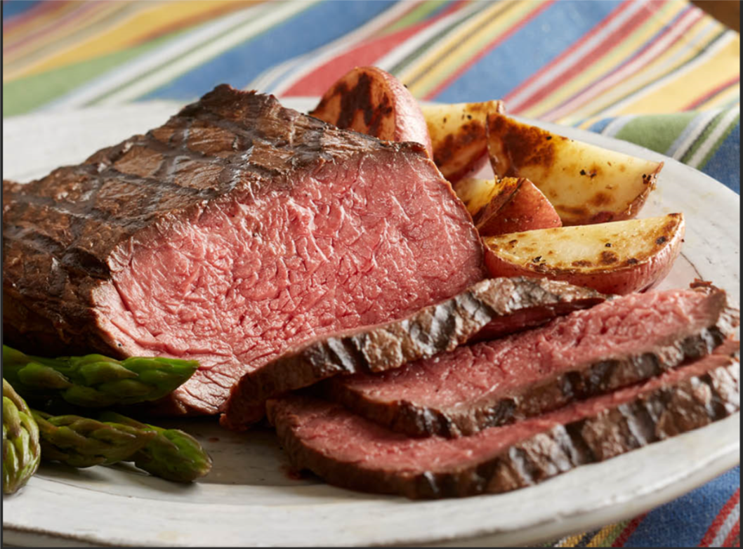 New York Strip Sirloin on sales. Translates to Roast Sirloin for dinner.  Slow roasting produces color-evenness and juicy interior while a last-minute blast tight to the broiler produces the caramelizing-char that we so admire.