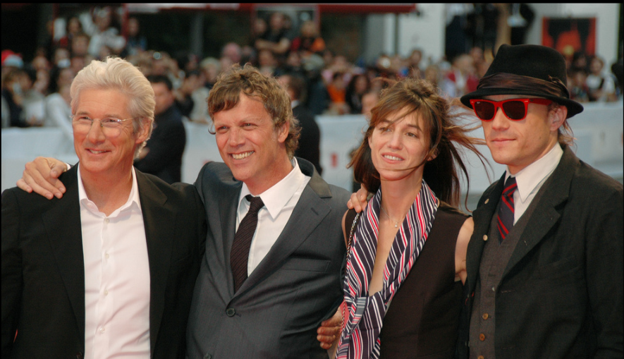 Ledger ( rightmost ) posing with the cast and the director of   I'm Not There   at the 64th  Venice Film Festival  in September 2007.