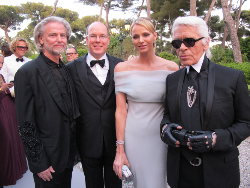 Lagerfeld with Hermann Bühlbecker, Prince Albert II and Princess Charlene of Monaco (2011). get noticed communications - https://www.flickr.com/photos/getnoticed_de/5963394884/