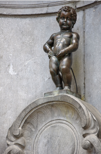 "Manneken Pis, meaning ""Little Pisser"" in Dutch) is a landmark small bronze sculpture (61 cm) in the center of Brussels (Belgium), depicting a naked little boy urinating into a fountain's basin.  It was designed by Hiëronymus Duquesnoy the Elder and put in place in 1618 or 1619.  The original is kept in the Museum of the City of Brussels.  Manneken Pis is the best-known symbol of the people of Brussels.  It also embodies their sense of humor and their independence of mind."