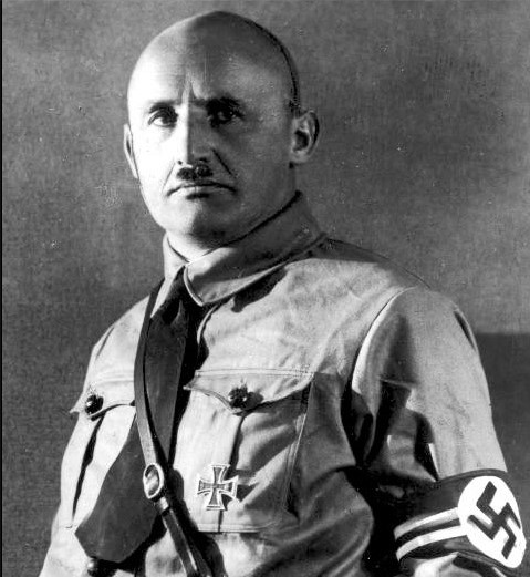 Gauleiter of Franconia     Julius Streicher (12 February 1885 – 16 October 1946) was a prominent member of the Nazi Party. He was the founder and publisher of the semi-pornographic and virulently anti-Semitic newspaper Der Stürmer, which became a central element of the Nazi propaganda machine.  His publishing firm also released three anti-Semitic books for children, including the 1938 Der Giftpilz (translated into English as The Toadstool or The Poisonous Mushroom, one of the most widespread pieces of propaganda, which warned about the supposed dangers Jews posed by using the metaphor of an attractive yet deadly mushroom.  The publishing firm was financially very successful and made Streicher a multi-millionaire.    After falling out with Hermann Göring in 1939, Streicher was declared unfit for leadership by a Nazi Party Court and stripped of his party posts, although he continued to publish Der Stürmer, which was not an official publication of the Nazi Party.    At the end of the war, Streicher was convicted of crimes against humanity in the Nuremberg trials and was executed.