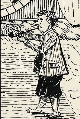 J. R. R. Tolkien's impression of the literary character Bilbo Baggins, as seen in Tolkien's illustration of Bag End.  Drawn by Tolkien for inclusion in illustrated editions of his 1937 novel The Hobbit.
