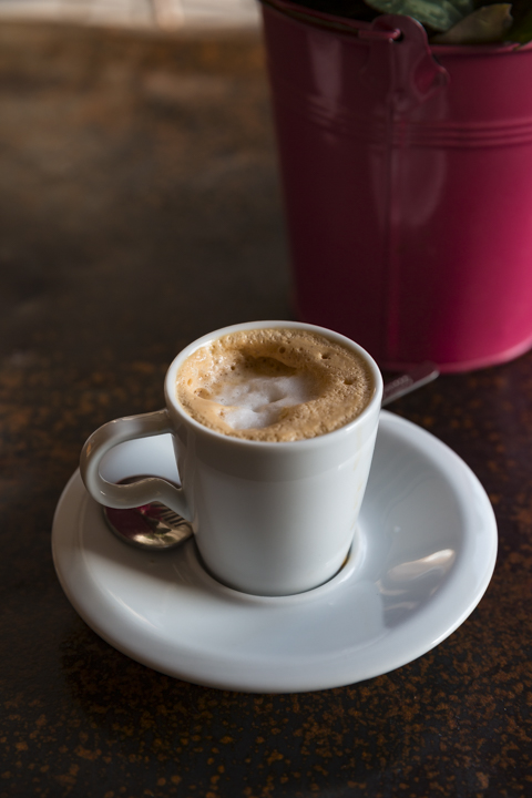 "Sometimes nothing will do but my favorite form of espresso. Many call it by its Italian designation: a caffé macchiato—espresso with a dollop of hot milk. I like the French name for this treat, a "" noisette""  (means ""hazelnut"").  photo © Howard Dinin"