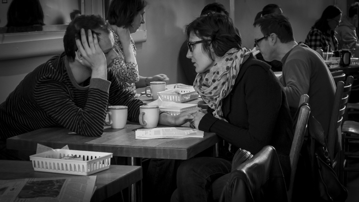 Great coffee is a must. And so, a little romance may be too much to expect. But it does happen, even at The Biscuit. I spotted this intensely hip couple being intense there one morning… bonding over a seminar paper, maybe?  photo © Howard Dinin